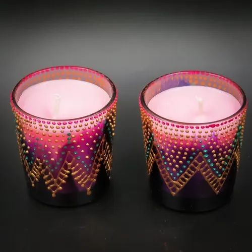 Aroma Pillar Scented Soy Wax Candles In Hand Painted Candle Holders, For  Home Decor, Rs 220 /pair | ID: 21532243762
