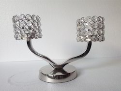 Aluminium Crystal Candle Holder