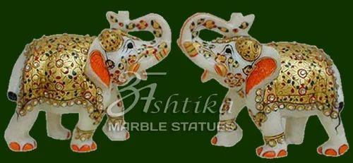 Marble Elephant Pair Statue