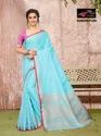 Sangini Sky Blue Pure Linen Cotton Saree