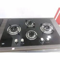 Black Rectangular Kaff 4 Burner Gas Stove