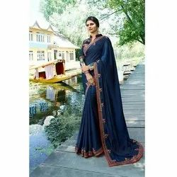 Party Wear Ladies Blue Silk Saree, 5.5 M (separate Blouse Piece) ,packaging Type: Packet