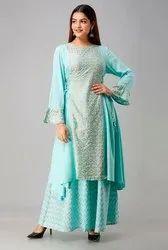 3/4th Sleeve Blue Tripta - Cotton Up And Down Gold Printed Kurti with Bottom