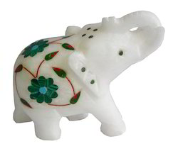 Marble Elephant Melachite Inlay Precious Stone Work for Countertops, Size: 4.5x3 Inches