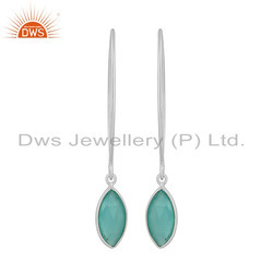 Designer Fine Silver Aqua Chalcedony Gemstone Hook Earrings