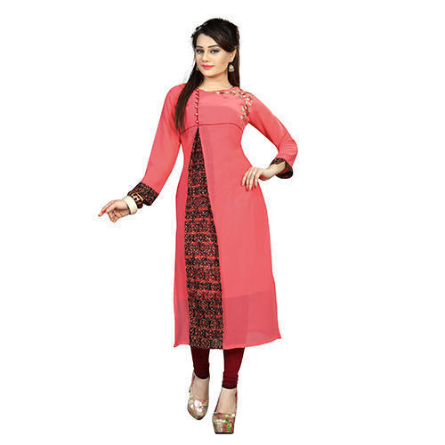 Cotton Stitched Plain Kurti, Size: M & L
