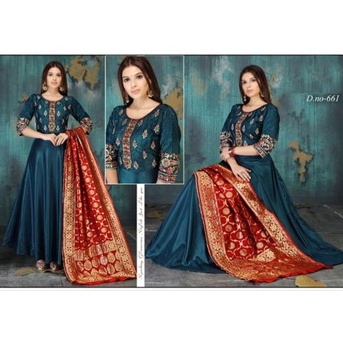 7b69795c7e Satin Tapeta Fabric Party Wear Ladies Churidar Salwar Suit Material ...