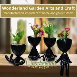 Polyresin Table Wonderland Black Yoga Resin Planter Planters, For Decoration, Size: 6-8 Inch