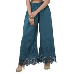 Party, Casual Wear Blue Chikan Palazzo, 90-110 Gsm