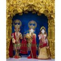 Marble Radha Krishna Balram Temple Statue