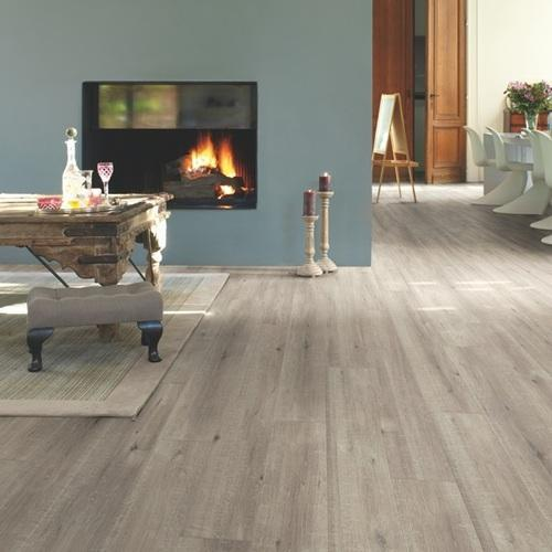 Wood Quickstep Saw Cut Oak Grey Laminate Flooring, 8 Mm