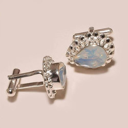 White Gemstone Sterling Silver Cufflinks