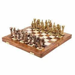 14 Brass Roman Folding Wood Chess Board