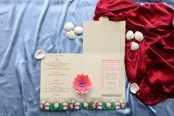 Paper Green Floral Wedding Invitation Card Design In 3D Effect, Size: 21.5 Cm X 16.5 Cm