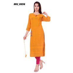Round Neck Yellow A-Line Kurti