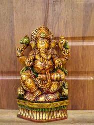Lord Ganesha One Foot Cute Wooden Idol