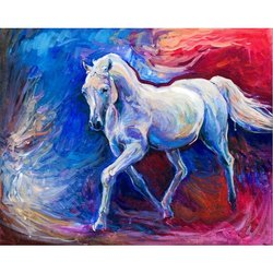 Wooden Canvas Handmade Running Horse Oil Painting