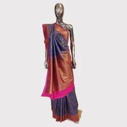 Royal Blue Brocked Banarasi Silk Saree