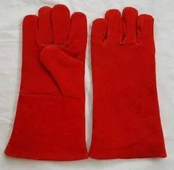 Leather Red heat resistant gloves, Model Name/Number: F22
