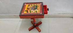 Mughal Painting Wooden Table with Drawer rack