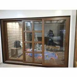 Brown Aluminium Almunium window, For Residential