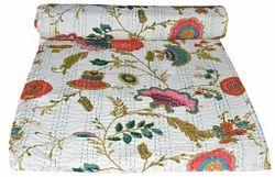 Kantha Quilt Bedspread Floral Print