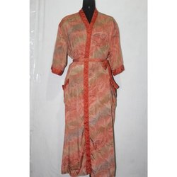 Vintage Silk Sari Long Kimono Maxi Gown Dress