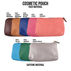 Premium Faux & Saffeine Leather Cosmetic Pouch, For Used For Makeup / Grooming Kit, Semi Circle