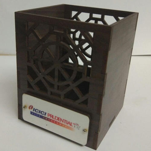 Brown Mica Sheet Wooden Pen Stand for Promotional Gifts