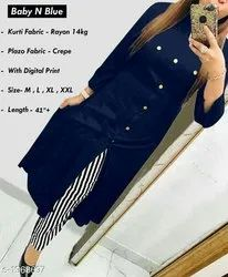 Ladies Rayon Kurti And Palazzo Set