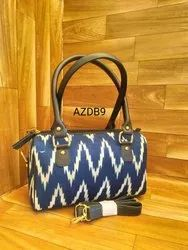 Blue Leather Duffel Handbags, For Office