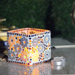 Glass Square Mosaic Candle Holder Home Decorative By Brahmz