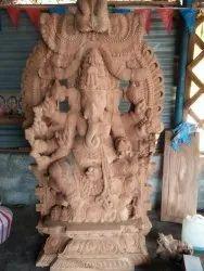 Blissful wooden Ganesha 6 feet