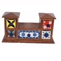 Hut Shape Wooden Chest With Ceramic Draws