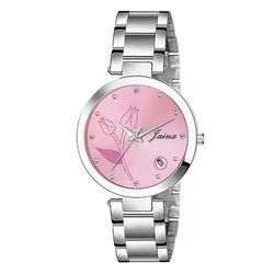 Jainx Pink Dial Date Functioning Analog Watch For Women JW646