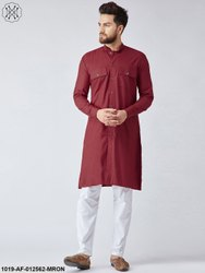 Party Wear Cotton Maroon Pathani Kurta & White Pyjama Set, Machine wash