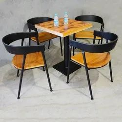 Wood And Iron Brown and Black Mild Steel Table, For Cafeteria, Seating Capacity: 4 Seat