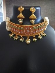 Party Wear Artificial Necklace Set, Packaging Type: Box