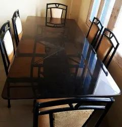 Glass Mirror Finish Steel Dining Table, Size: 4X8 Feet