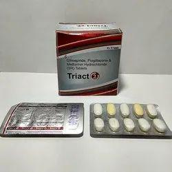 Glimepiride, Pioglitazone And Metformin Hydrochloride 2mg Tablets
