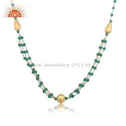 Natural Green Onyx Beaded Gemstone Gold Plated Silver Designer Necklace Jewelry