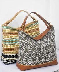 Leather Adjustable Jacquard Handbag, For Casual Wear