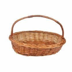 Bamboo Round Handle Oval Hamper Basket