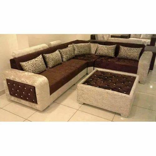 Wooden L Shape Sofa Set