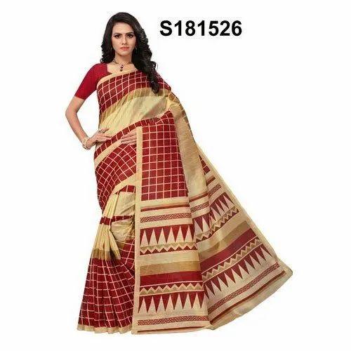 52a0b144f5 Casual Wear Bhagalpuri Silk Printed Saree, Hand Made, 6.3 m (with blouse  piece