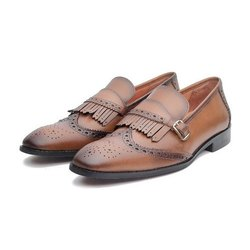 b3666d665fa55 Mens Leather Fringe Loafers Shoes