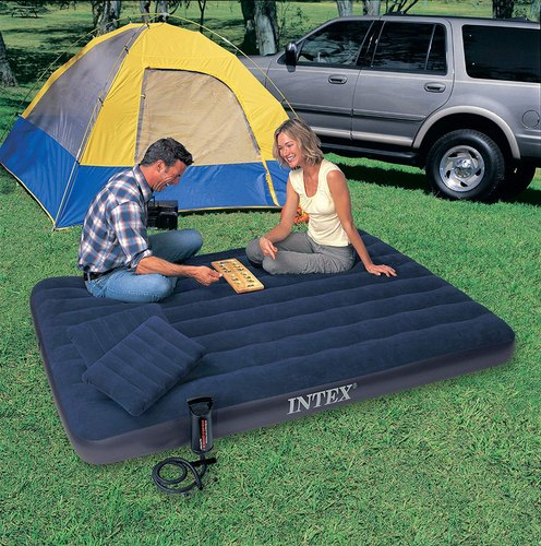 PVC Intex Queen Size Airbed Set (Blue), Size: 203.2 X 152.4 X 22.9 cm