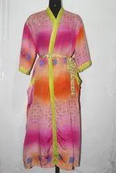 Vintage Silk Sari Long Kimono Bath Robe Maxi Dress Gown