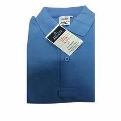 Plain Half Sleeve Mens Polyester Collar Neck T Shirts, Size: S - XL