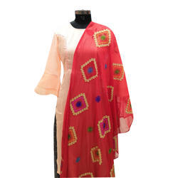 Embroidered Dupatta with tussels